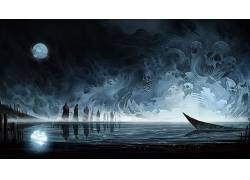 抽象,死亡,船,头骨,月亮,水,湖408415