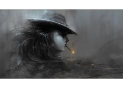 抽象,艺术品,平面设计,向量,妇女,帽子,雪茄383512图片