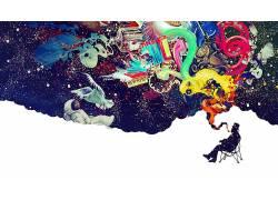抽象,超现实主义,数字艺术,宇航员,抽烟,LSD188418