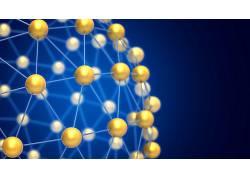 数字艺术,抽象,CGI,3D,领域,格,原子,蓝色背景422334
