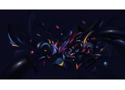 数字艺术,极简主义,简单的背景,抽象,3D,几何,蓝色背景,Vlad Axin