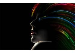 数字艺术,神奇女侠,抽象,黑暗,华美,黑色的背景,妇女,照片处理,口
