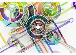 数字艺术,抽象,圈,华美,3D,线,白色背景161333