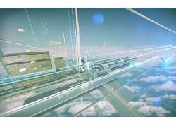 科幻小说,云,天空,3D,数字艺术,抽象,蓝色306