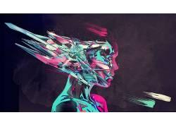 数字艺术,艺术品,抽象,妇女,面对,轮廓313242