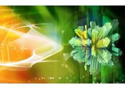 数字艺术,抽象,橙子,绿色,艺术品278