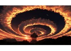 科幻小说,抽象,月亮,云,圈,树木359228