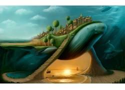超现实主义,鲸,楼梯,拆分视图,抽象,幻想艺术29089