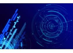 数字艺术,抽象,线,CGI,氖,泛着,技术,几何,圈,六边形,蓝色背景206