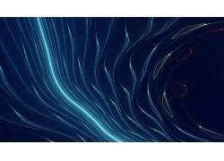 数字艺术,抽象,线,蓝色背景,氖,抽烟416956