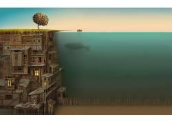水,鱼,超现实主义,猫头鹰城市,抽象,动漫,海,鲸,艺术品,幻想艺术,