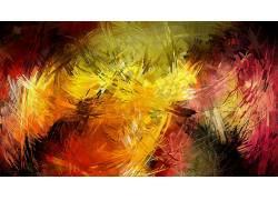 数字艺术,华美,抽象,形状,红,橙子,黄色23158