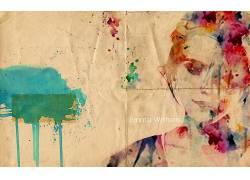 艾玛・沃特森,抽象,艺术品,妇女,油漆飞溅40900图片
