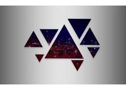 芝加哥,地平线,市容,抽象,三角形,华美456334