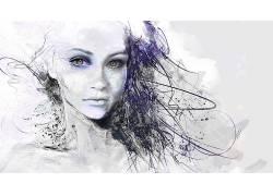 数字艺术,妇女,白色,抽象,面对102386