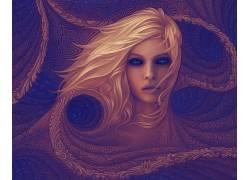 面对,妇女,抽象,蓝眼睛,数字艺术294799
