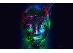 面对,数字艺术,亚当Spizak,抽象228098