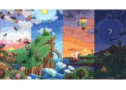 数字艺术,性质,海,彩虹,太阳,月亮,蝴蝶,气球,船,管,华美,灯塔,云
