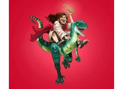 Gabirotcho,数字艺术,耶稣基督,伶盗龙属,爬行动物,披风,红