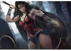 神奇女侠,妇女,数字艺术,大腿,漫画,正义联盟,分裂,迷你裙,屏蔽,