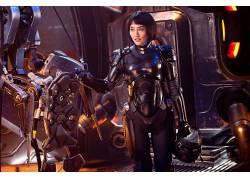 环太平洋,Mako Mori,菊池凛子,盔甲,飞行员,妇女,亚洲,短发,黑发,