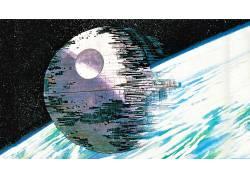 星球大战,科幻小说,死星,艺术品,线框,拉尔夫麦奎利,空间,电影,地