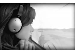 妇女,头戴耳机,迷失在翻译,单色,斯嘉丽约翰逊,电影111762
