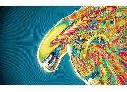 外星人,Matei Apostolescu,超现实主义,华美,抽象,数字艺术,外星