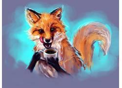 艺术品,狐狸,动物,杯子453575