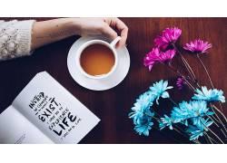 咖啡,松弛,杯子,花卉,手,茶647240