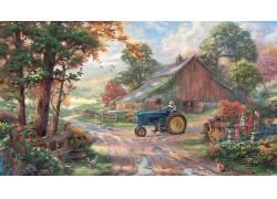 绘画,农场,谷仓,鸡,拖拉机,花卉,泥路,托马斯金凯德,艺术品103664