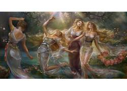 幻想艺术,艺术品,绘画,金发,长发,透明的衣服,花卉,有风,阳光,姐
