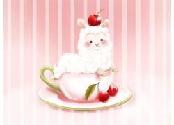 杯子,板,樱桃,餐饮,动物,羊驼,樱桃(食物)355435