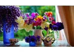 花卉,花瓶,三色紫罗兰,花束,杯子,绘画175194