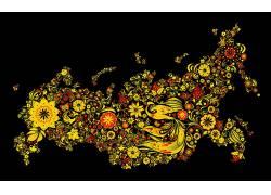 俄国,抽象,花卉,植物,黑色的背景,艺术品60407