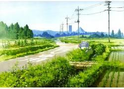 艺术品,路,电力线路,农场,植物,电线杆144931