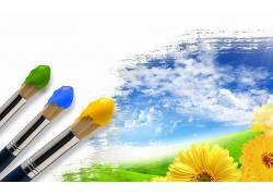 油画刷,花卉,黄色的花朵,天空,帆布,云16237