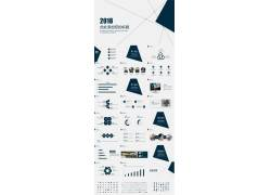 深蓝色简洁点线背景工作总结ppt模板图片