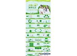 绿色系列关爱儿童健康生活ppt模板