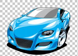 跑车法拉利,卡通跑车元素PNG剪贴画卡通人物,紧凑型车,蓝色,敞篷