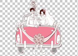 婚礼邀请汽车婚姻,刚刚结婚的PNG剪贴画白色,家具,婚礼,时尚插画,