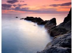 76191,地球,海岸线,黎明,雾,水,岩石,海,壁纸