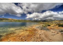 30006,地球,沙漠,风景,湖,山,天空,云,壁纸