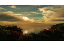 87488,地球,海洋,水,风景,摄影,树,叶子,秋天,彩色,天空,地平线,