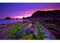 92906,地球,海景画,岩石,苔藓,水,海洋,壁纸图片