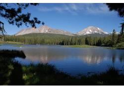 雪山下的小湖美景壁纸图片
