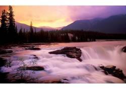 114619,地球,瀑布,瀑布,自然,日落,水,森林,山,岩石,壁纸图片