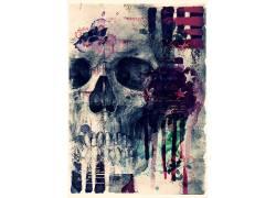 国外骷髅复古海报模板