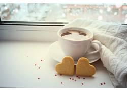 食物,咖啡,杯子,饼干,心形的,壁纸图片