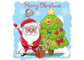 卡通圣诞老人和树